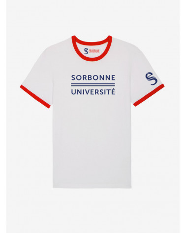 T-shirt Sorbonne Université aux bords contrastés blancs et rouges