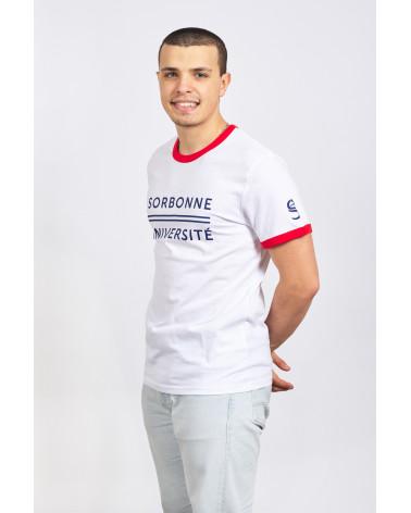 T-shirt Sorbonne Université aux bords contrastés blancs et rouges
